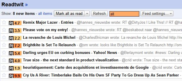 Readtwit & postrank dans Google reader