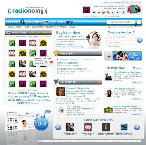 Homepage Radionomy